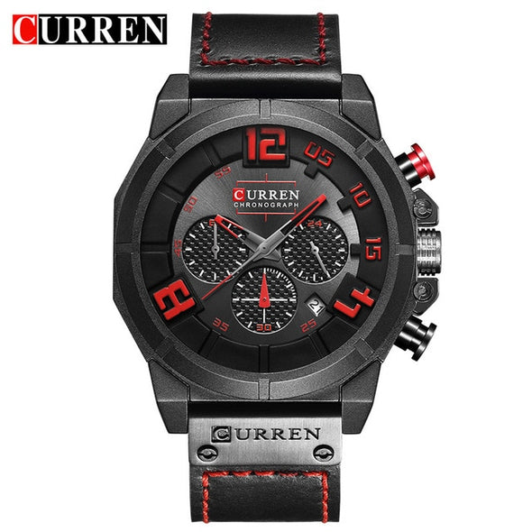 CURREN 8287 Top Brand Chronograph Quartz watches Men 24 Hour Date Men Sport Leather Wrist Watch - myglassesmart.com