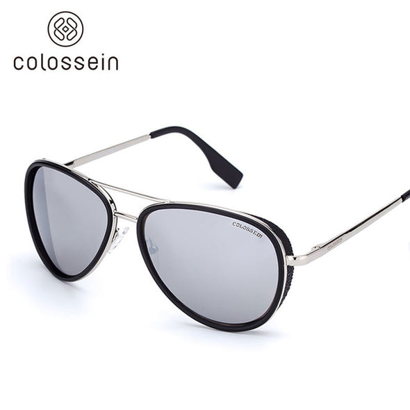 Grey Coating Pilot Metal Frame Stylish Sunglasses for Women