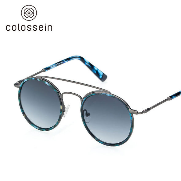 Round Blue Retro Sunglasses