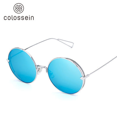 Round Blue Metal Frame Stylish Sunglasses for Women