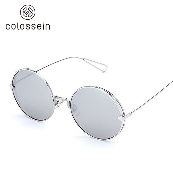 Round Grey Metal Frame Stylish Sunglasses for Women