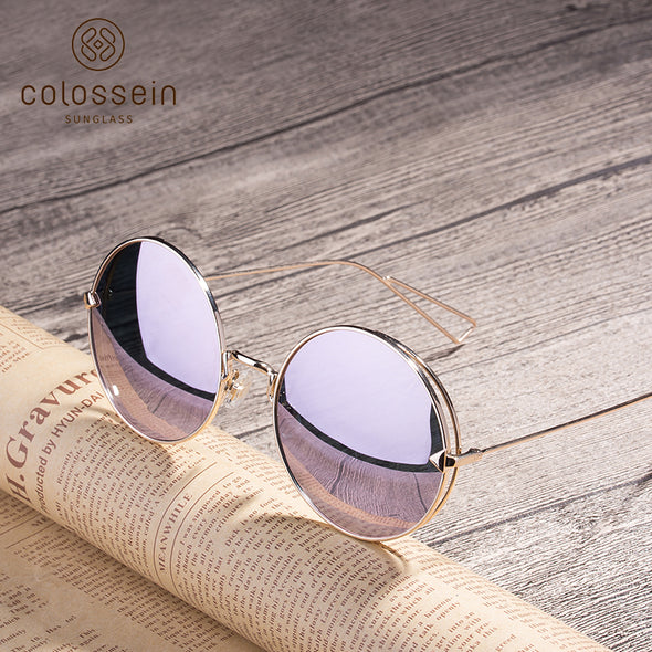 Round Pink Metal Frame Stylish Sunglasses for Women
