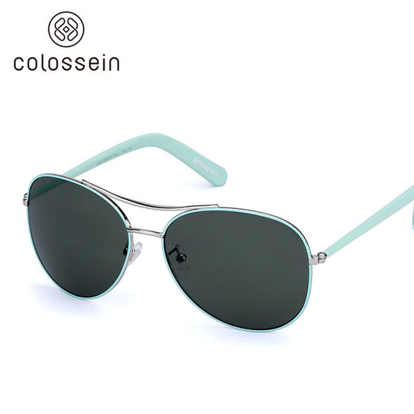 Oval Green Pilot Stylish Sunglasses for Women