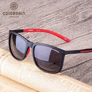 Square Black and Red Unbreakable Light-weight Frame Polarized Stylish Sunglasses