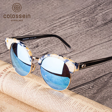 Round Blue Mirrored Stylish Sunglasses for Women