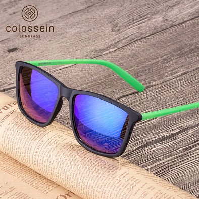Square Blue Mirrored Black and Green Frame Stylish Sunglasses for Women