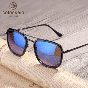 Square Blue Mirrored Design Sunglasses