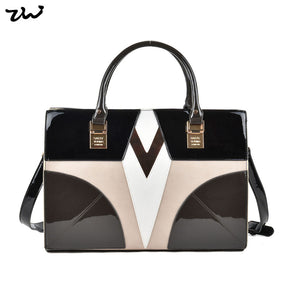 ZIWI shoulder bags for women  splicing color cell phone pocket  zipper closure fashion soft patent leather crossbody bag SY2111 - myglassesmart.com