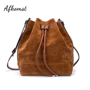 Newest Brown Bucket Shoulder Bag Faux Suede Famous BrandDesigner Handbags Shoulder Bags Crossbody Bags |HD-70186 - myglassesmart.com