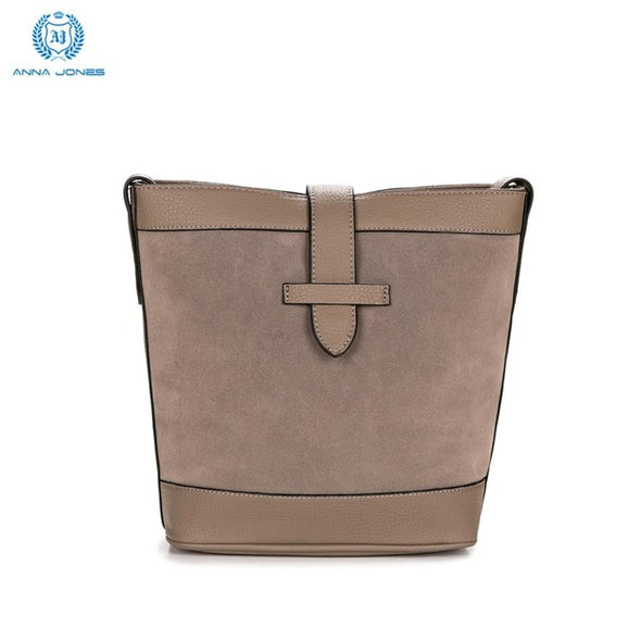Fashion Women Shoulder Bag Small Bucket Style Patchwork Suede & PU Hasp Zipper Closure Adjustable Strap |CT20315 - myglassesmart.com