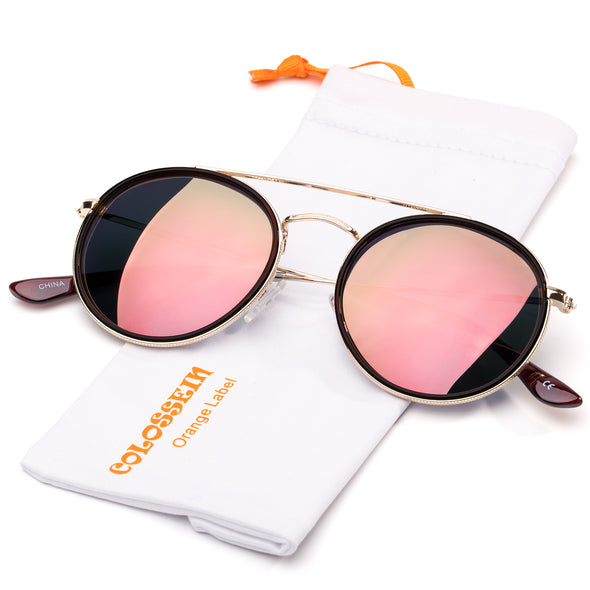 Round metal Frame Pink Mirrored Stylish Sunglasses