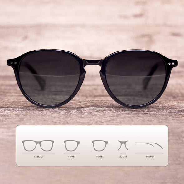 Round Black Sam Acetate Frame Stylish Sunglasses