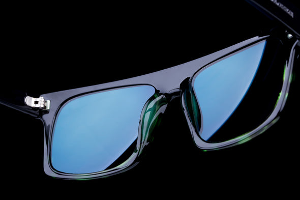 Square Blue Mirrored Mens Designer Sunglasses