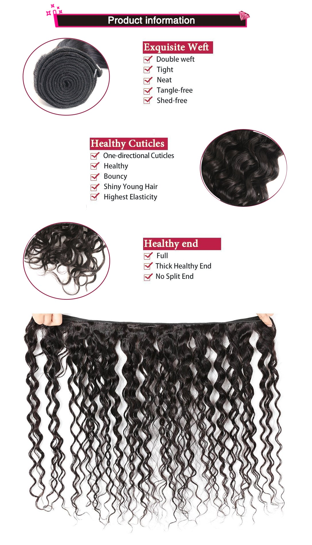 Brazilian Virgin Hair Water Wave 3 Bundles 100% Unprocessed Human Hair  Weave Natural Black Color 100g/pc