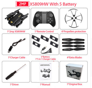 RC Dron Visuo XS809W XS809HW Mini Foldable Selfie Drone with Wifi FPV 0.3MP or