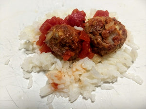 Meatballs with salsa and rice (DF) - CTK