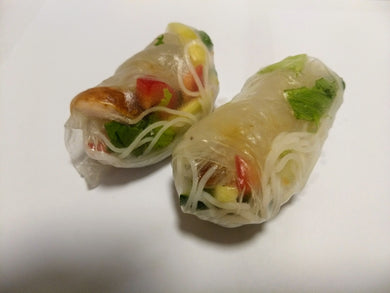 Vietnamese rolls (2) with tofu and dipping sauce (GF, DF, VG) - CTK