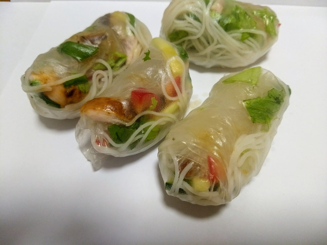 Vietnamese rolls (4) with tofu and dipping sauce (GF, DF, VG) - CTK