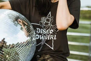Cowgirl Tee- white on black