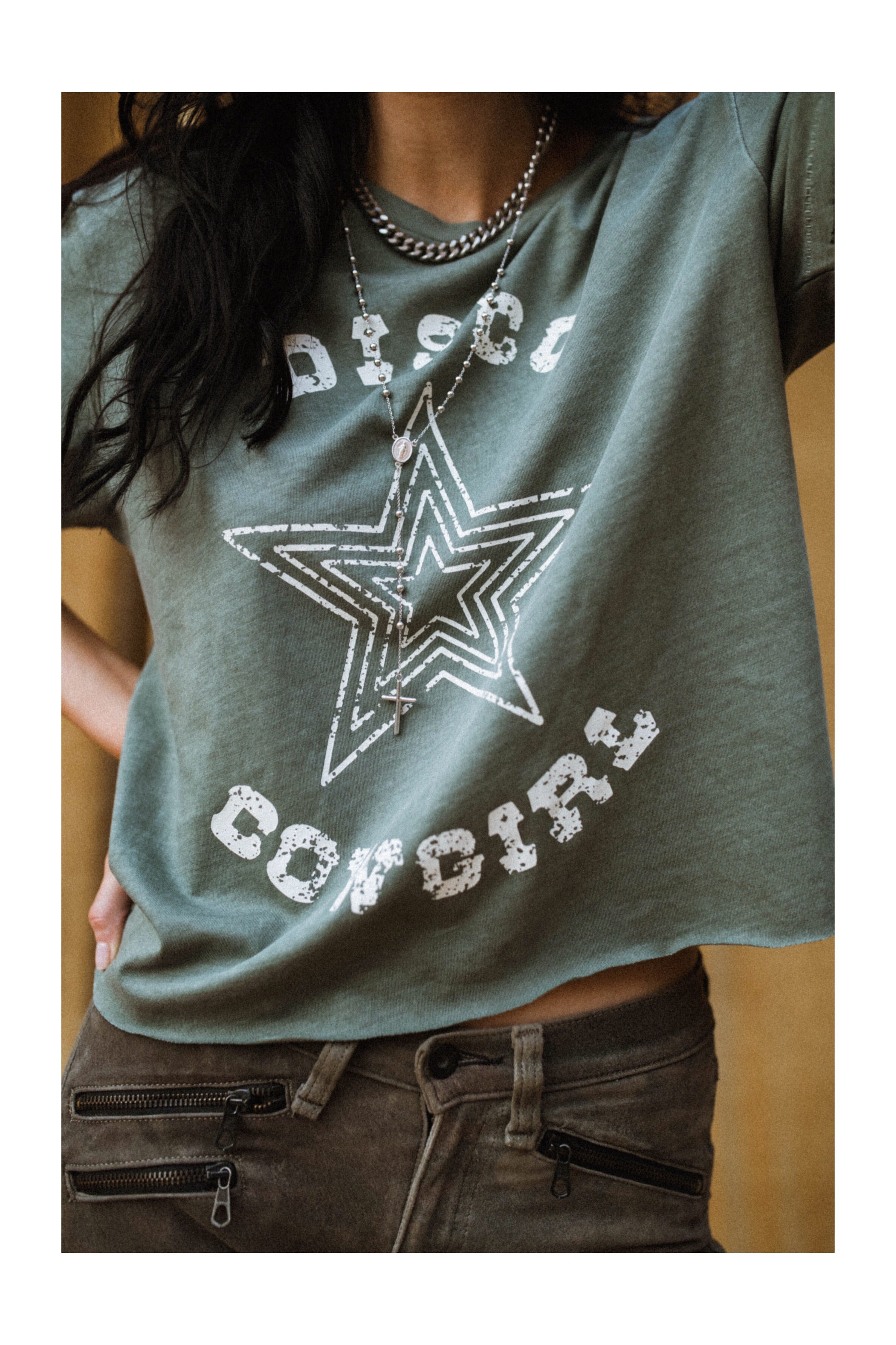 Western Radio Star Tee- white on cactus