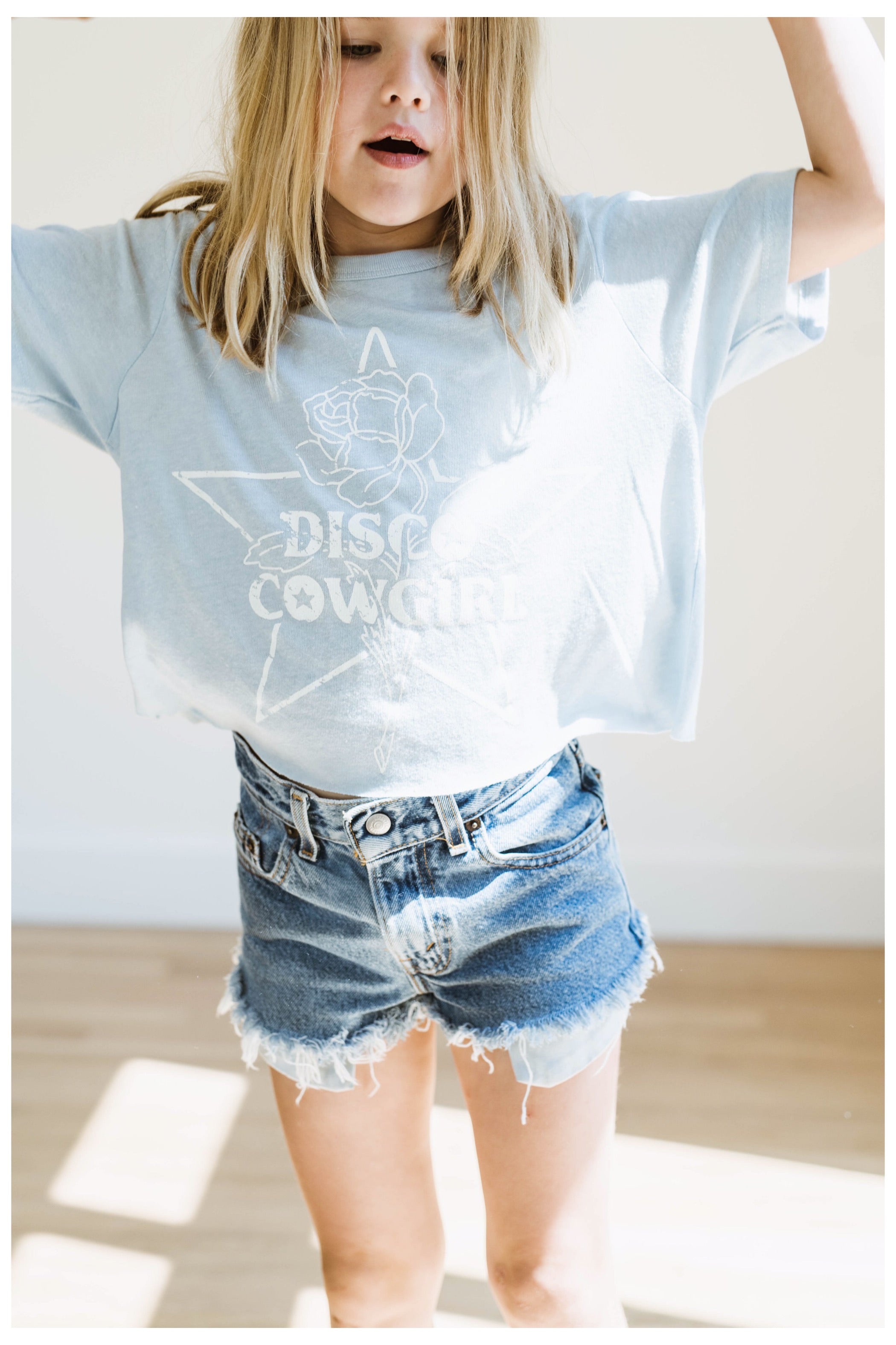 Little Cowgirl Tee- white on sky