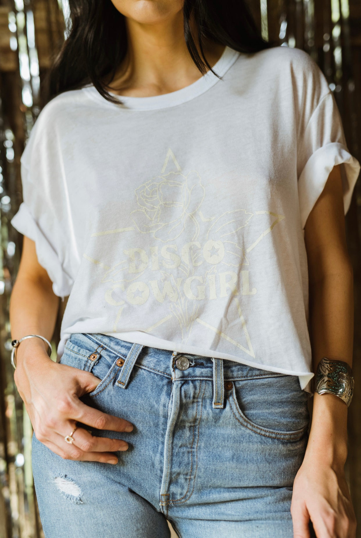 Cowgirl Tee- white on white