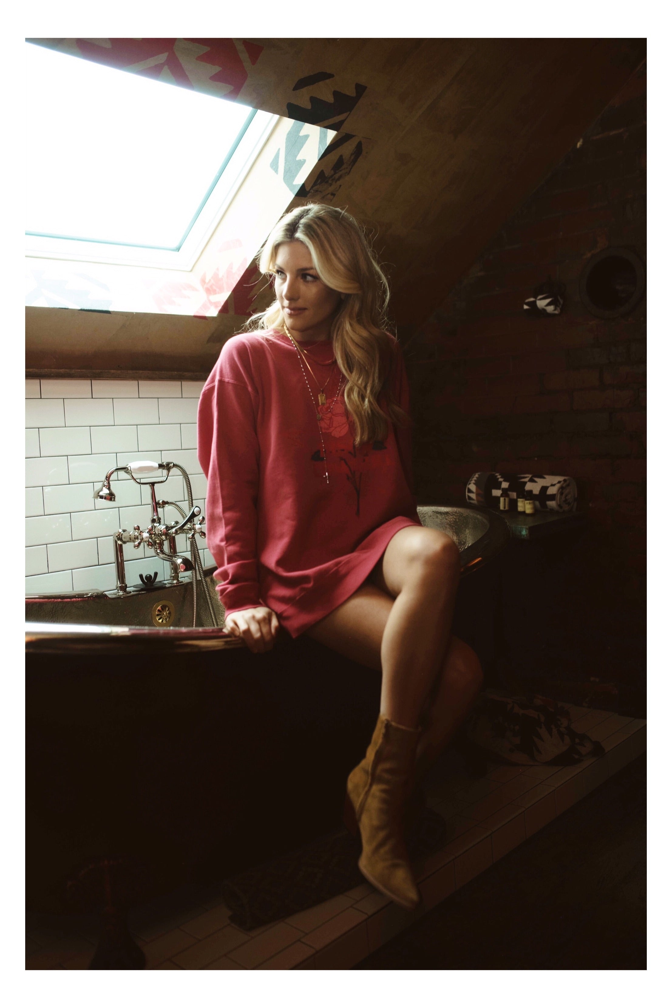 Cowgirl Pullover- color on washed red