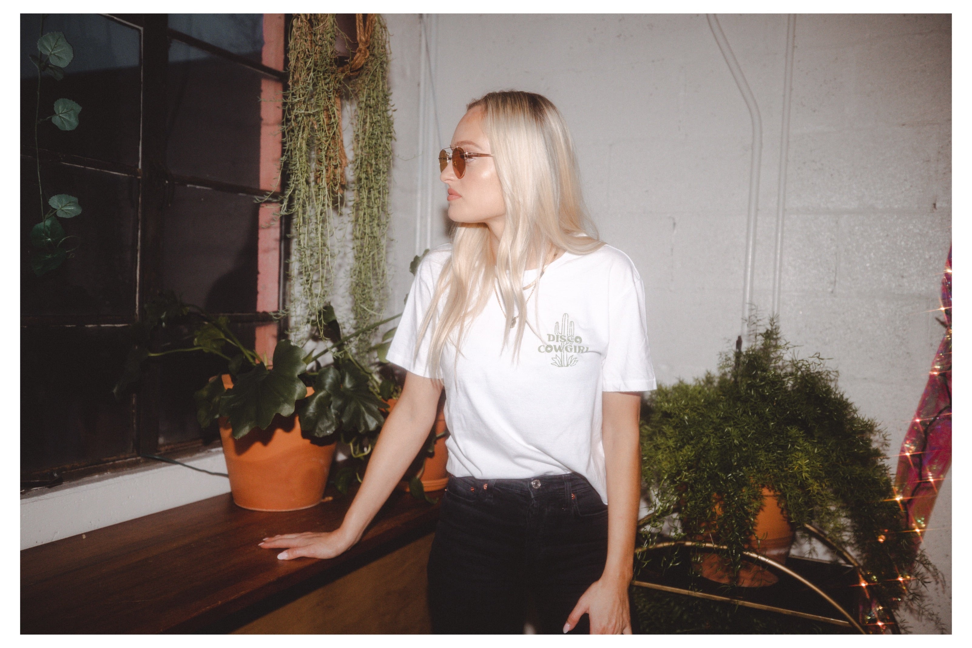 Cactus Tee- green on white