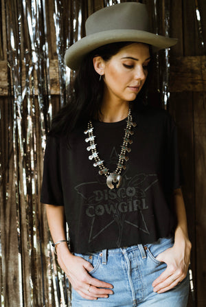 Cowgirl Tee- black on black