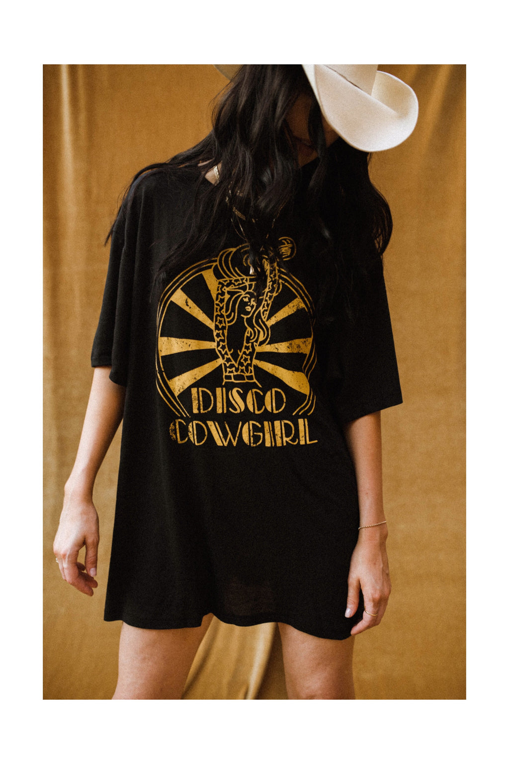 Disco Darlin' Tee- vintage gold on black