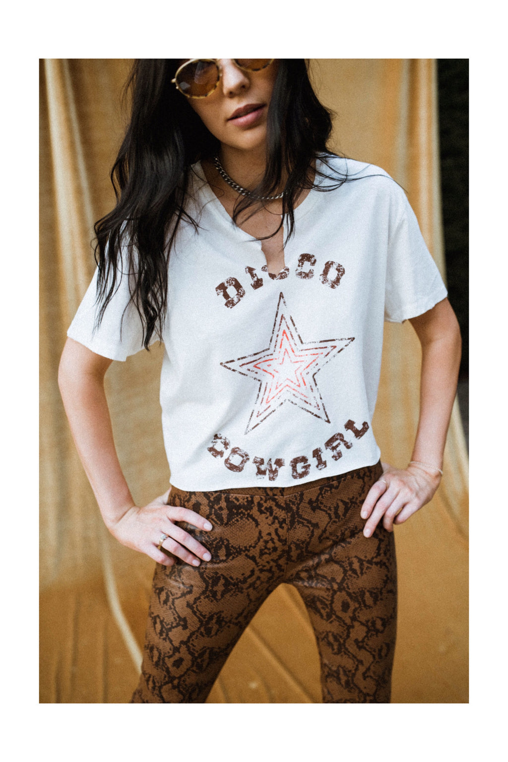 Western Radio Star Tee- saddle on dirty white