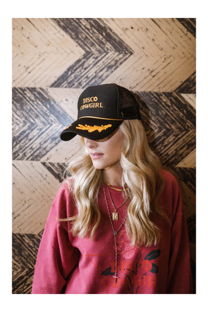 Foam Trucker Hat- vintage gold on black