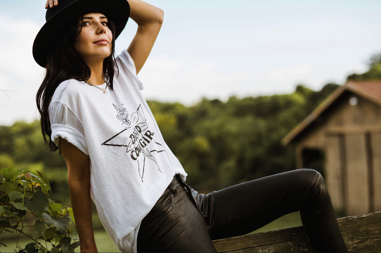 Cowgirl Tee- black on white