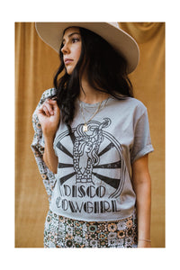 Disco Darlin' Tee- black on sterling