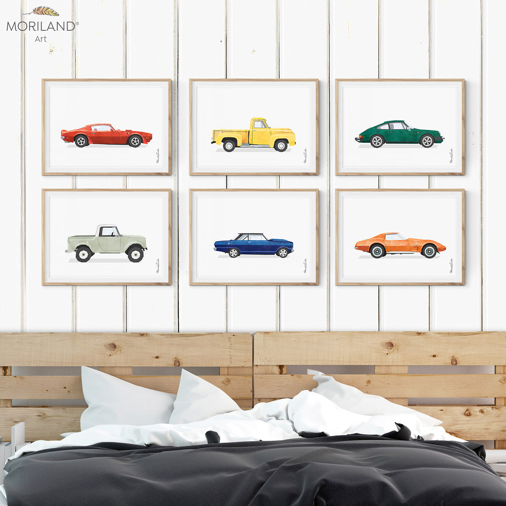 Cars Wall Art prints for boy bedroom decor ideas by MORILAND