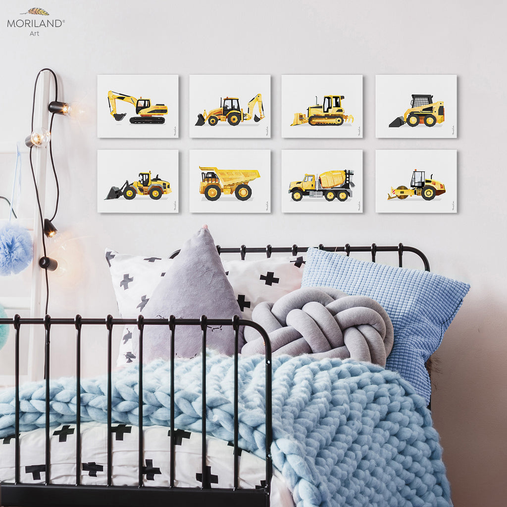 construction vehicles art - canvas prints for boy bedroom decor by MORILAND