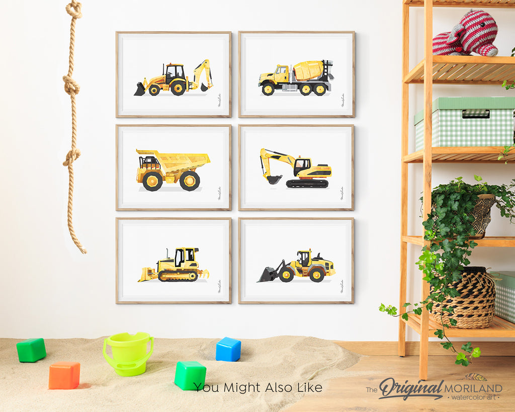 watercolor construction prints for big boy room decor by MORILAND