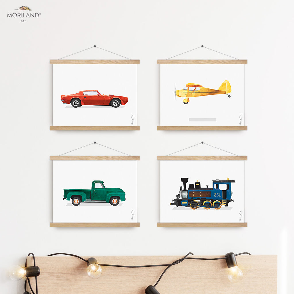 Plane, Train, Truck and Sports Car - Printable Set of 4, Transportation Nursery, Truck Room Art, Toddler Boy Room Decor, Instant Download Art, Baby Wall Art, Cars Room, Playroom Art, Children's Room Decor, Kids Wall Decor, Preschool Transportation, Car Prints, Train Print, Classic Sports Car Print, Printable Art, Kids Poster, Classroom Decor Ideas | by MORILAND