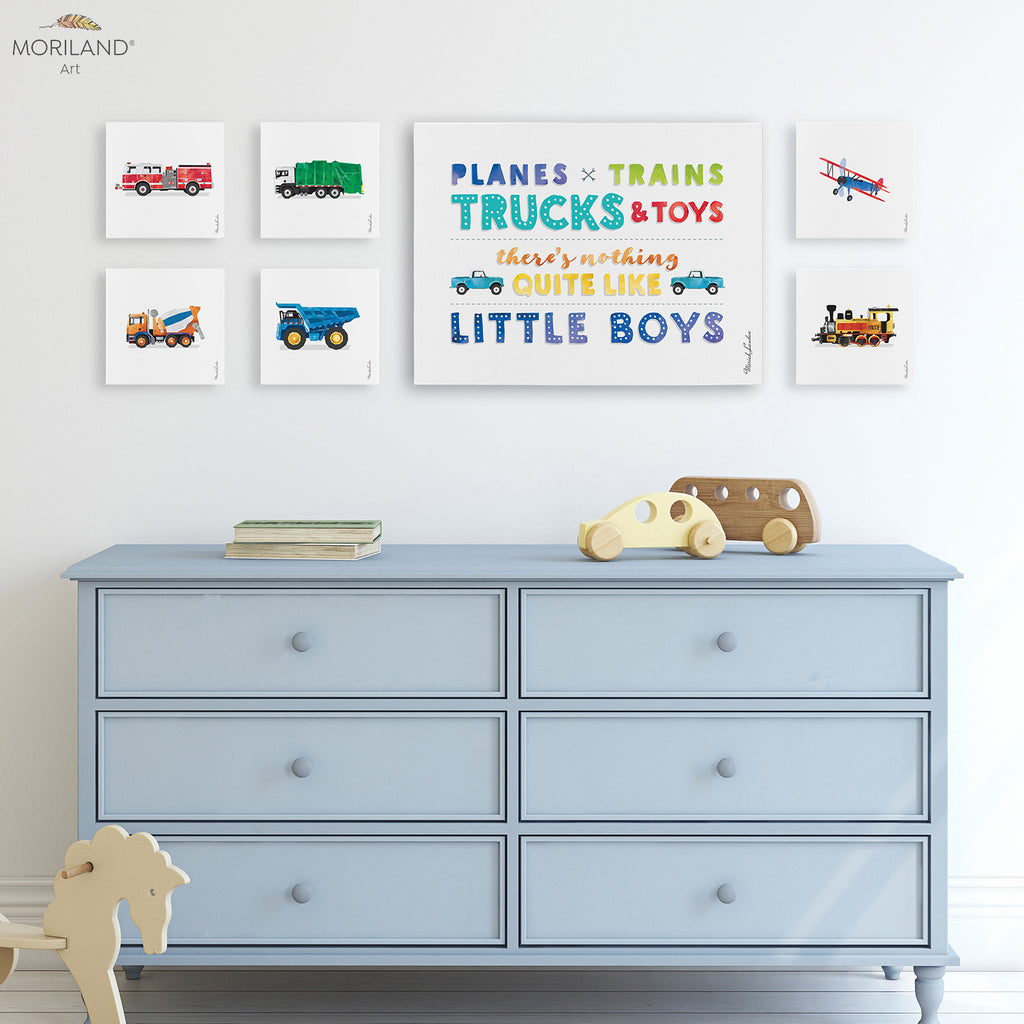 Planes trains trucks and toys quote fire truck, dump truck watercolor canvas prints for boy bedroom decor by MORILAND