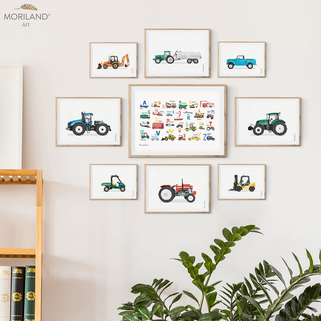 Farm vehicles and transportation alphabet art print for boy bedroom decor by MORILAND