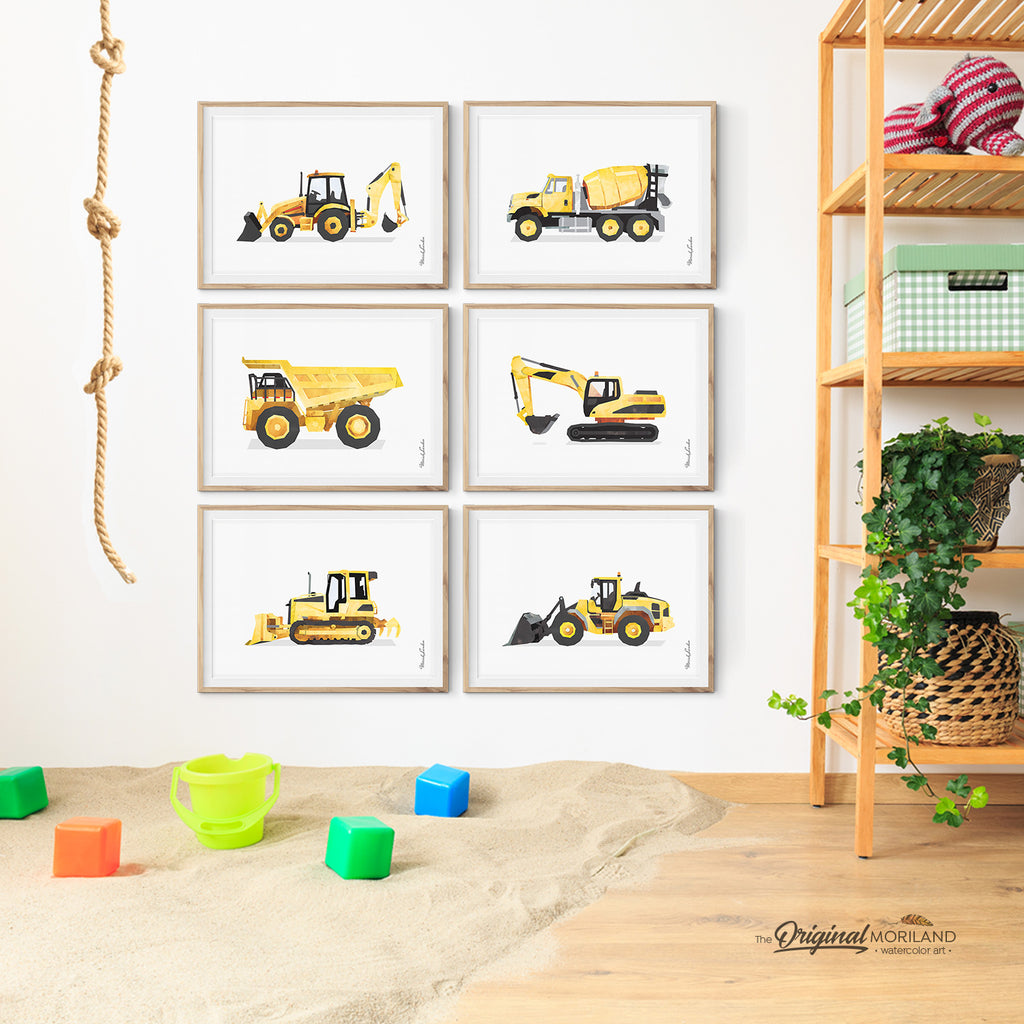 Construction Vehicles like Digger, Dump Truck and Cement Mixer Wall Art for Boy Bedroom Decor