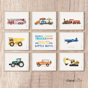 Transportation wall art, Fire Engine, Ladder Truck, Car, Semi Truck, Steam Engine, Dump Truck, Planes Trains Trucks and Toys, Plane Decor, Tractor Nursery, Bronco Art, Digger Print, Printable