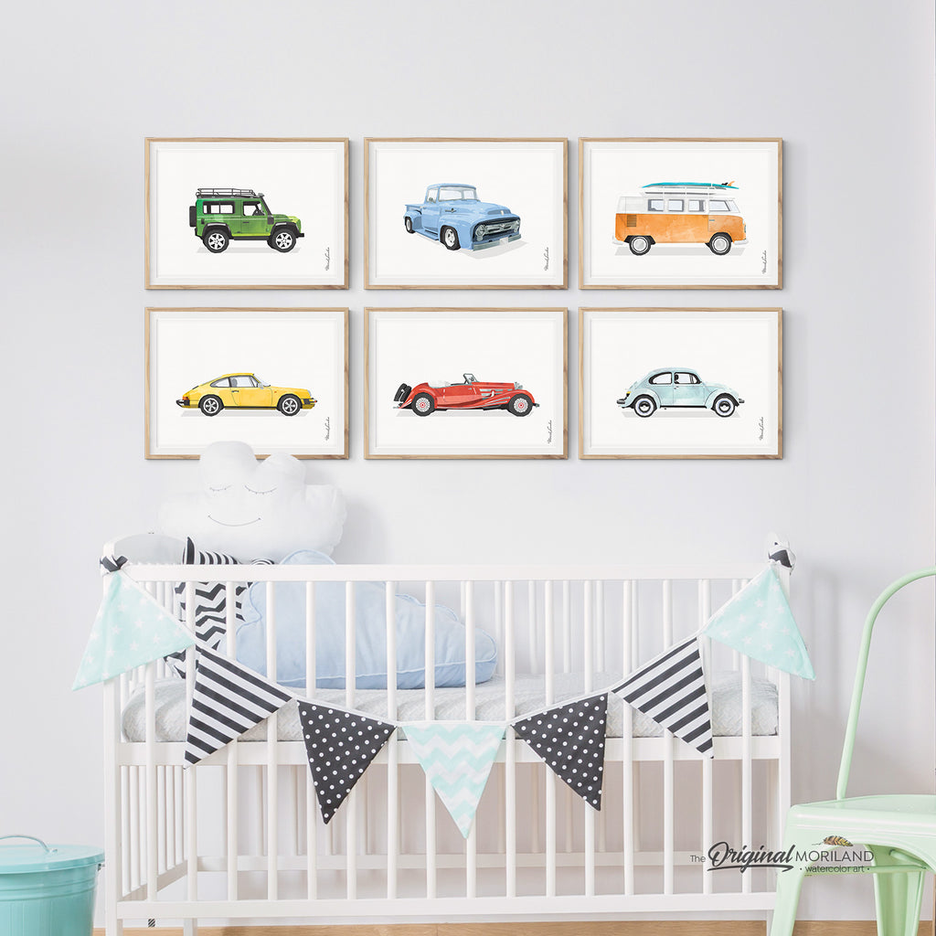 Transportation Wall Art, Land Rover, Ford, VW Bus, Porsche 911, Beetle, Mercedes, Print
