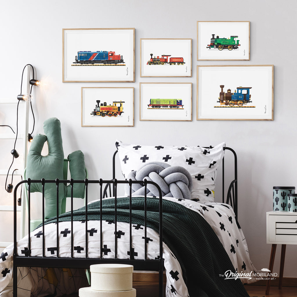 watercolor train locomotive wall art prints for boy room decor - by MORILAND