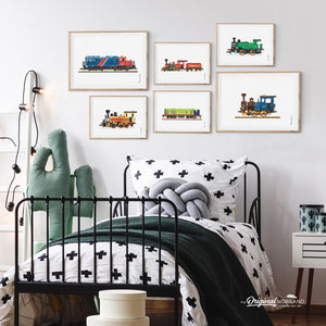 Train Locomotive Wall Art Set for Toddler Boy Bedroom Decor
