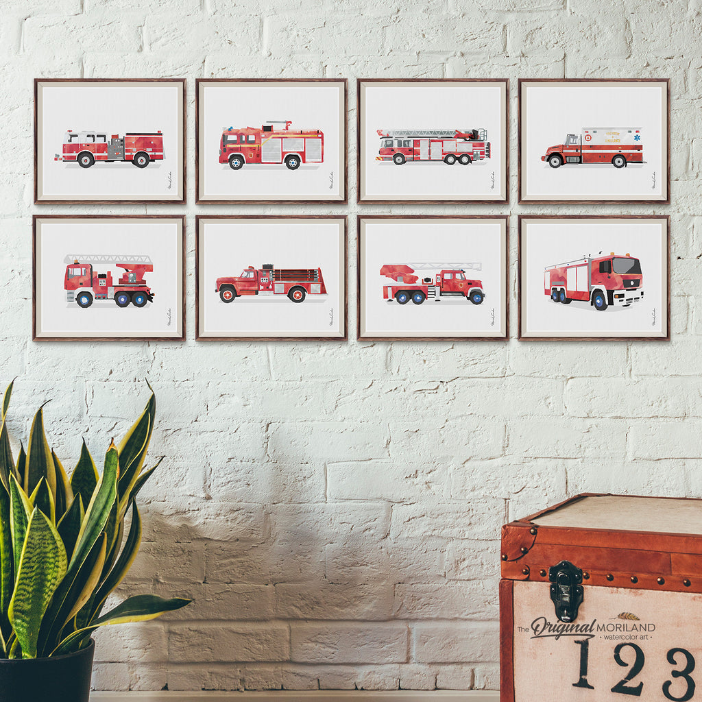 Fire Truck and fire engine Wall Art set for boy bedroom and playroom decor