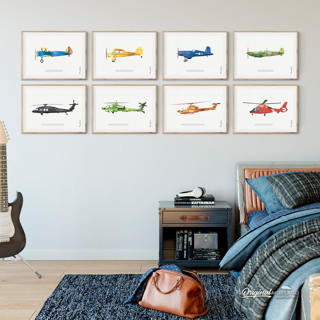 Stearman, Biplane, Piper Vagabond, Spitfire, Black Hawk, Cobra, Apache, Dolphin, Helicopter, Aircraft, Plane, Airplane, Wall Art, Decor, Printable
