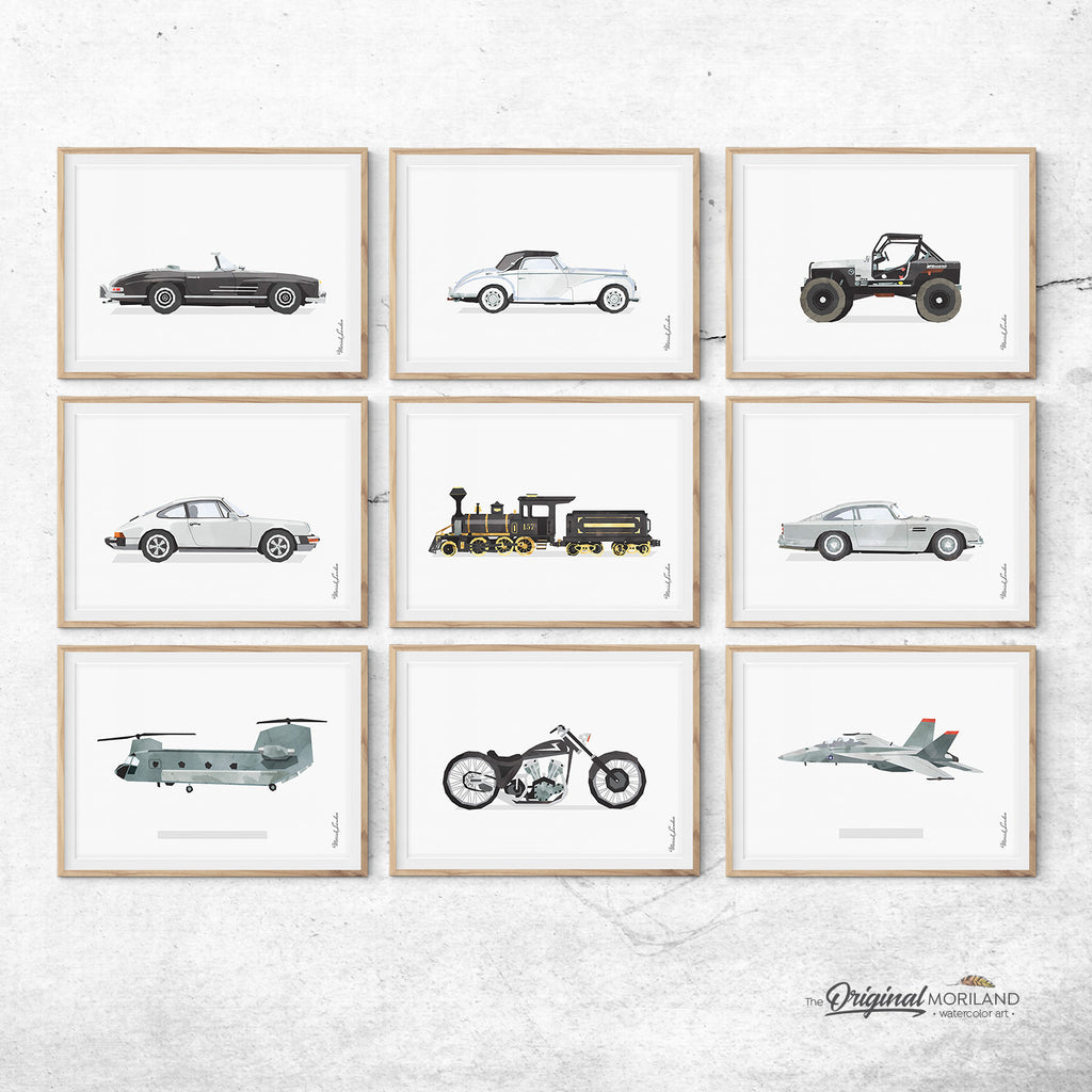 Men's office Decor, Gray Watercolor, Vehicles, Prints, Wall Decor, F-18, Mercedes, Porsche 911, Jeep, Black and white
