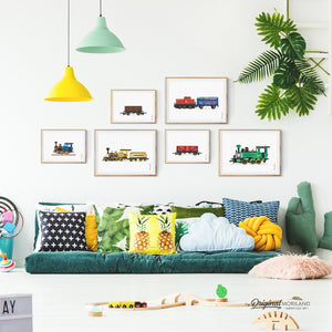 Train and Locomotive Wall Art set for Kids Bedroom Decor