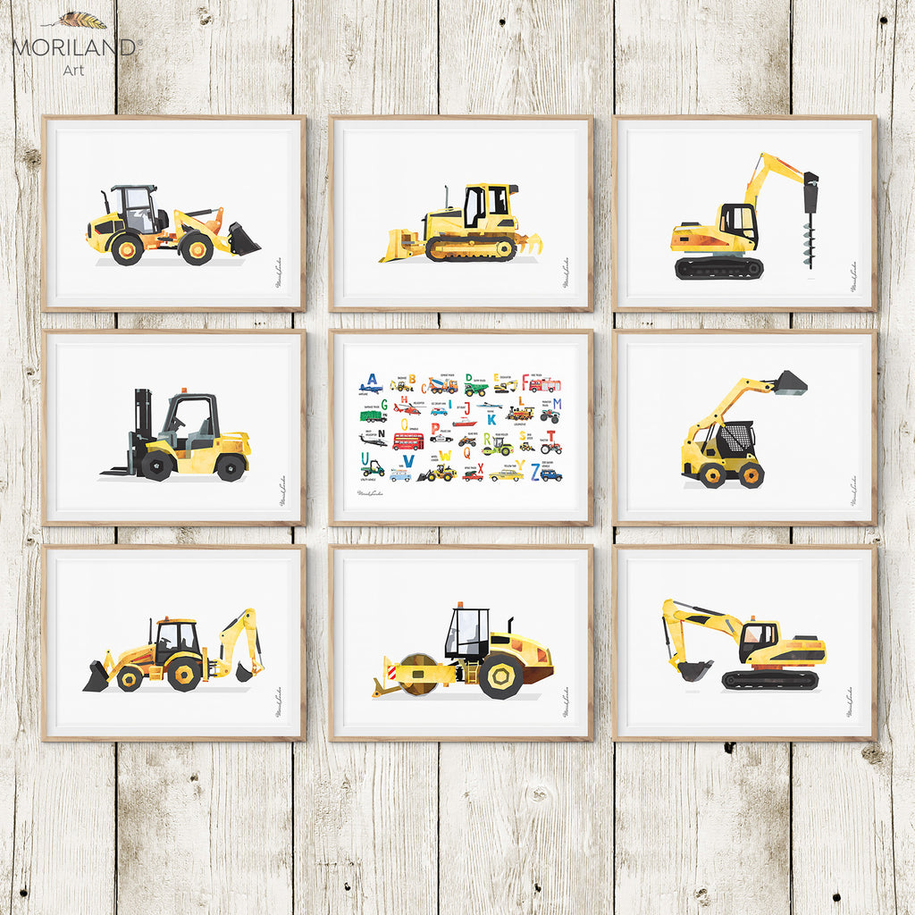 Construction vehicles, digger, and transportation Alphabet watercolor art prints printable for boy room decor by MORILAND